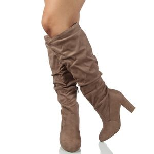 Cement faux suede slouchy Knee High Boot